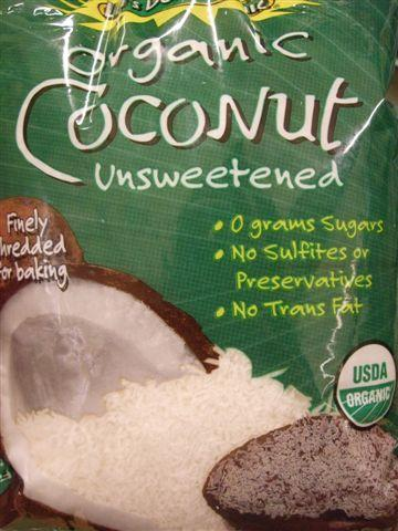 unsweetened coconut: smaller, drier & is the one needed in this recipe.